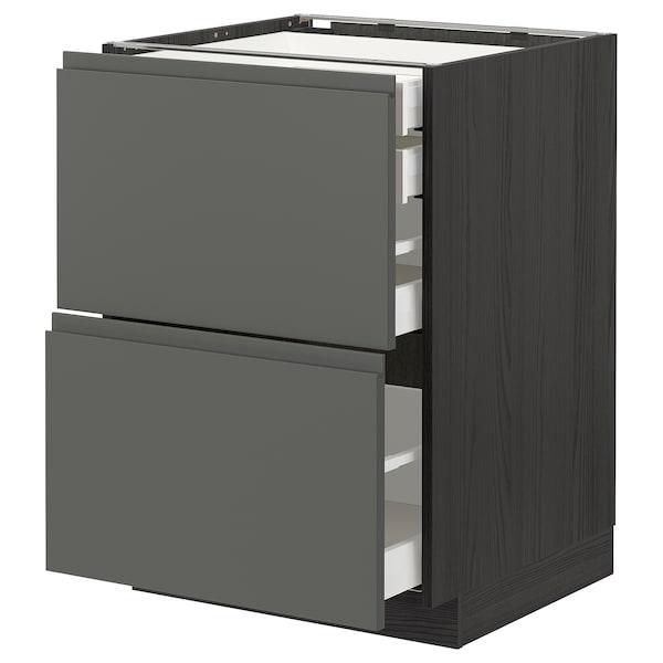 METOD / MAXIMERA Bänksk 2 frnt/2 låg/1 md/1 hög låda, svart/Voxtorp mörkgrå, 60x60 cm