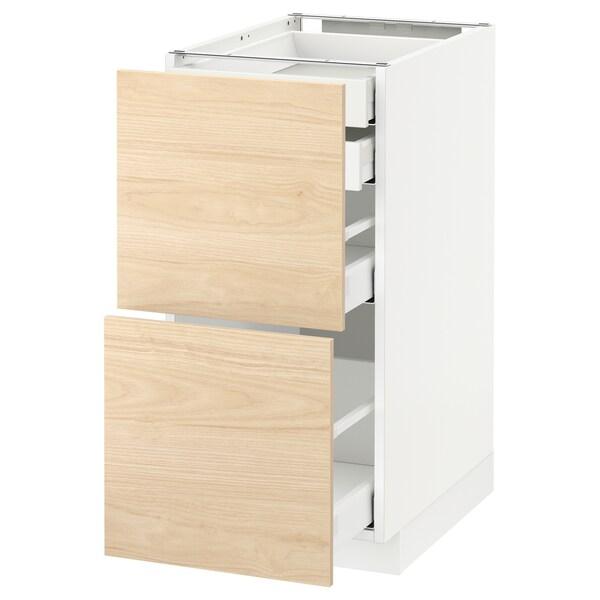 METOD / MAXIMERA Bänksk 2 frnt/2 låg/1 md/1 hög låda, vit/Askersund ljus askmönstrad, 40x60 cm