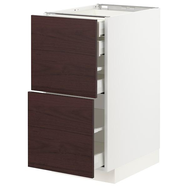 METOD / MAXIMERA Bänksk 2 frnt/2 låg/1 md/1 hög låda, vit Askersund/mörkbrun askmönstrad, 40x60 cm