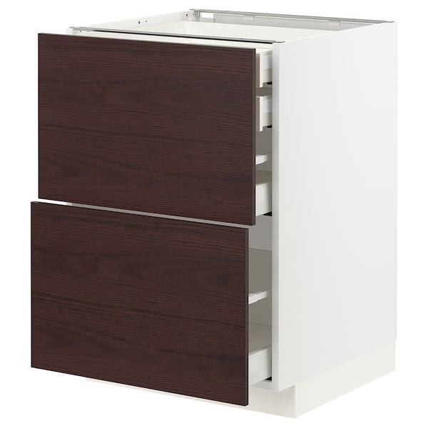 METOD / MAXIMERA Bänksk 2 frnt/2 låg/1 md/1 hög låda, vit Askersund/mörkbrun askmönstrad, 60x60 cm