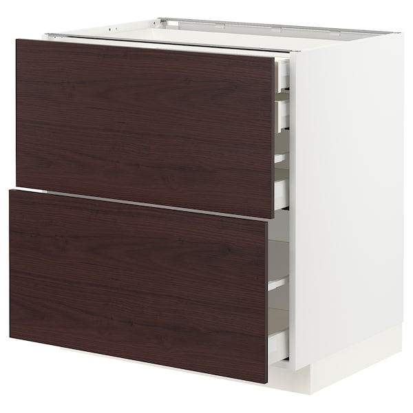 METOD / MAXIMERA Bänksk 2 frnt/2 låg/1 md/1 hög låda, vit Askersund/mörkbrun askmönstrad, 80x60 cm