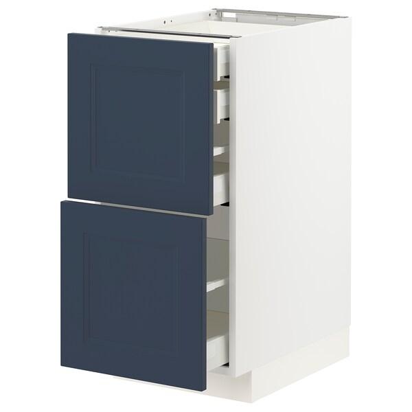 METOD / MAXIMERA Bänksk 2 frnt/2 låg/1 md/1 hög låda, vit Axstad/matt yta blå, 40x60 cm