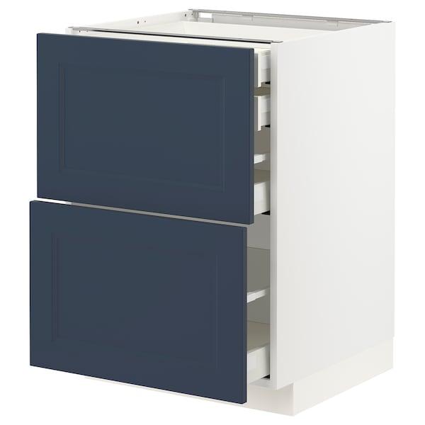 METOD / MAXIMERA Bänksk 2 frnt/2 låg/1 md/1 hög låda, vit Axstad/matt yta blå, 60x60 cm