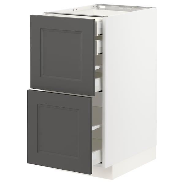 METOD / MAXIMERA Bänksk 2 frnt/2 låg/1 md/1 hög låda, vit/Axstad mörkgrå, 40x60 cm