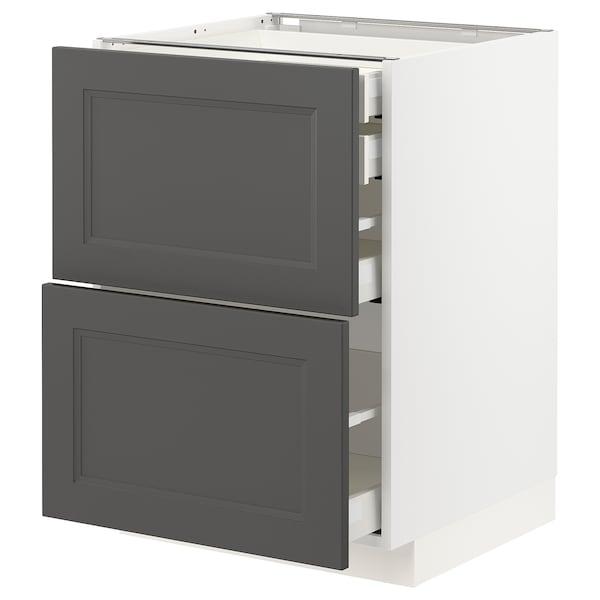 METOD / MAXIMERA Bänksk 2 frnt/2 låg/1 md/1 hög låda, vit/Axstad mörkgrå, 60x60 cm