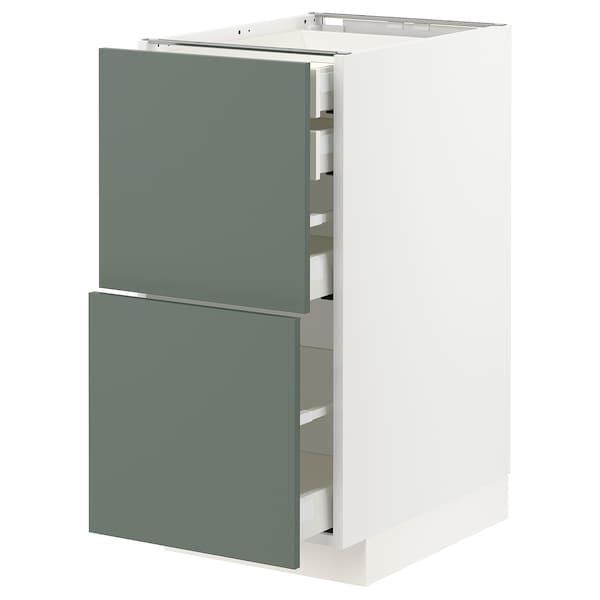 METOD / MAXIMERA Bänksk 2 frnt/2 låg/1 md/1 hög låda, vit/Bodarp grågrön, 40x60 cm