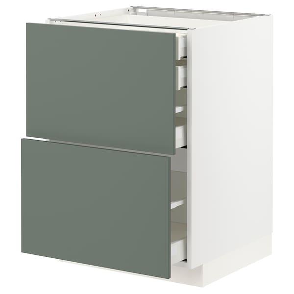 METOD / MAXIMERA Bänksk 2 frnt/2 låg/1 md/1 hög låda, vit/Bodarp grågrön, 60x60 cm