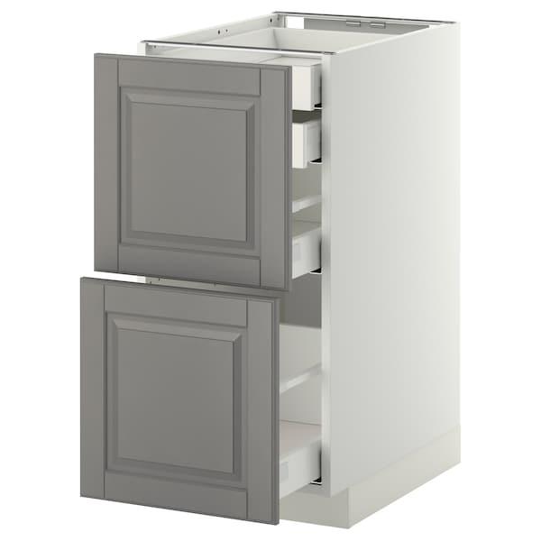 METOD / MAXIMERA Bänksk 2 frnt/2 låg/1 md/1 hög låda, vit/Bodbyn grå, 40x60 cm