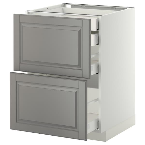 METOD / MAXIMERA Bänksk 2 frnt/2 låg/1 md/1 hög låda, vit/Bodbyn grå, 60x60 cm