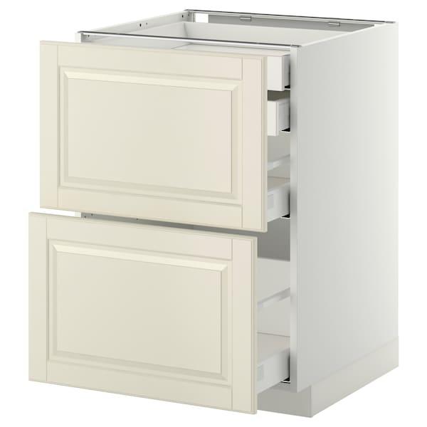 METOD / MAXIMERA Bänksk 2 frnt/2 låg/1 md/1 hög låda, vit/Bodbyn off-white, 60x60 cm