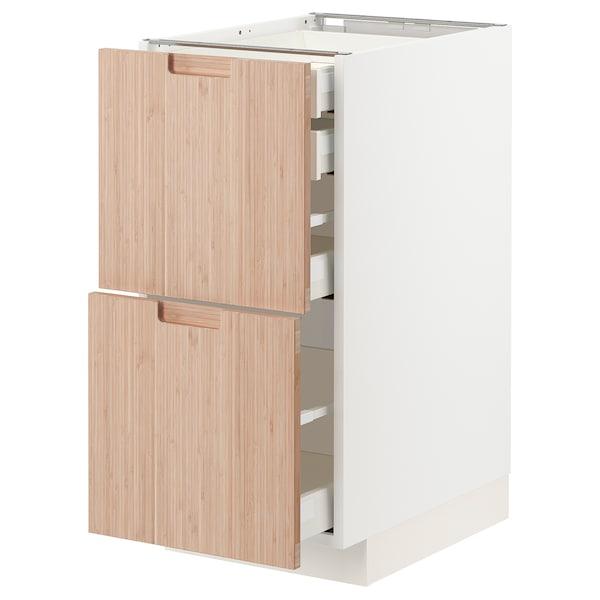 METOD / MAXIMERA Bänksk 2 frnt/2 låg/1 md/1 hög låda, vit/Fröjered ljus bambu, 40x60 cm