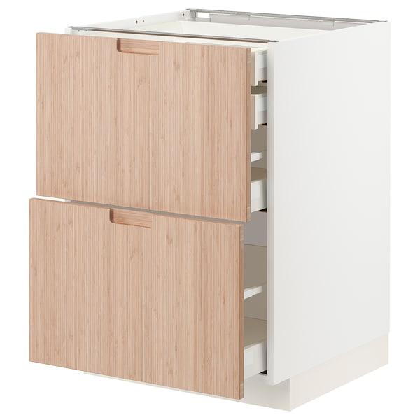 METOD / MAXIMERA Bänksk 2 frnt/2 låg/1 md/1 hög låda, vit/Fröjered ljus bambu, 60x60 cm