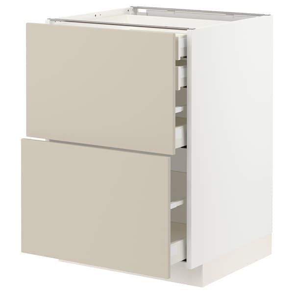 METOD / MAXIMERA Bänksk 2 frnt/2 låg/1 md/1 hög låda, vit/Havstorp beige, 60x60 cm