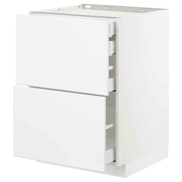 METOD / MAXIMERA Bänksk 2 frnt/2 låg/1 md/1 hög låda, vit/Kungsbacka matt vit, 60x60 cm
