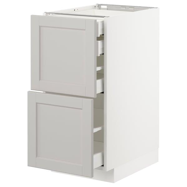 METOD / MAXIMERA Bänksk 2 frnt/2 låg/1 md/1 hög låda, vit/Lerhyttan ljusgrå, 40x60 cm
