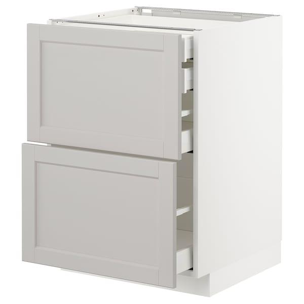 METOD / MAXIMERA Bänksk 2 frnt/2 låg/1 md/1 hög låda, vit/Lerhyttan ljusgrå, 60x60 cm