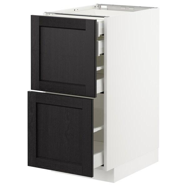 METOD / MAXIMERA Bänksk 2 frnt/2 låg/1 md/1 hög låda, vit/Lerhyttan svartlaserad, 40x60 cm