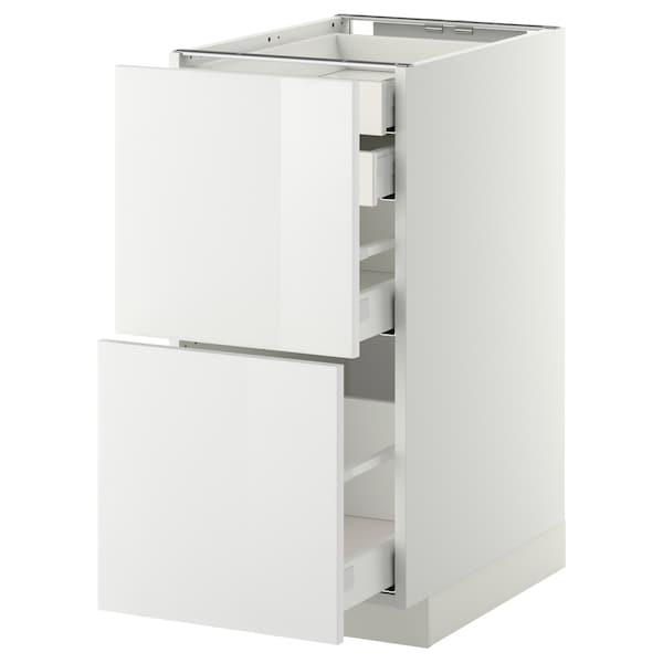 METOD / MAXIMERA Bänksk 2 frnt/2 låg/1 md/1 hög låda, vit/Ringhult vit, 40x60 cm