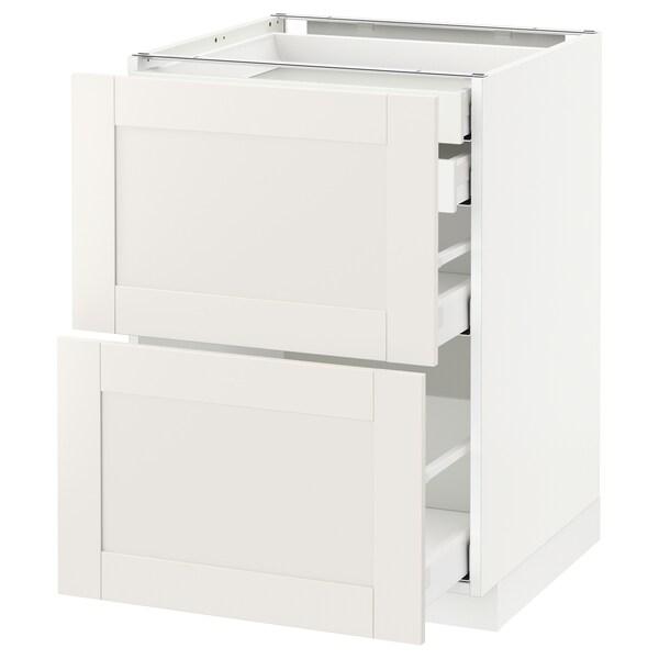 METOD / MAXIMERA Bänksk 2 frnt/2 låg/1 md/1 hög låda, vit/Sävedal vit, 60x60 cm