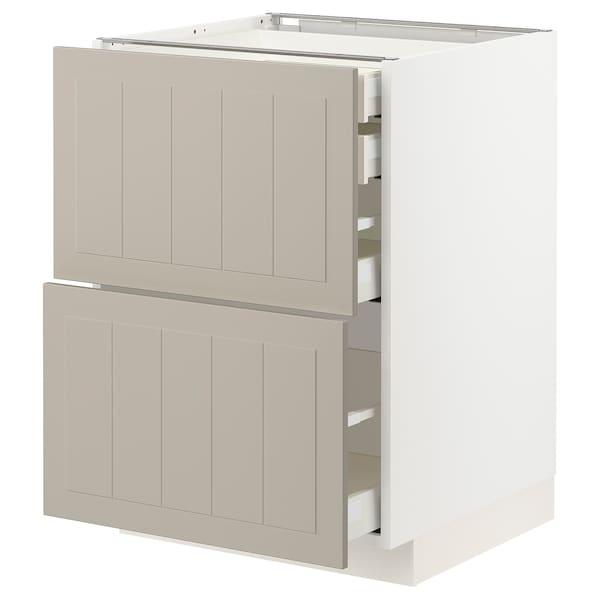 METOD / MAXIMERA Bänksk 2 frnt/2 låg/1 md/1 hög låda, vit/Stensund beige, 60x60 cm