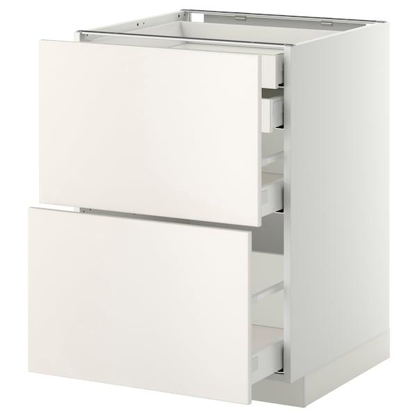 METOD / MAXIMERA Bänksk 2 frnt/2 låg/1 md/1 hög låda, vit/Veddinge vit, 60x60 cm