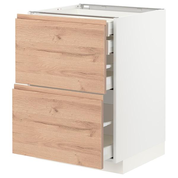METOD / MAXIMERA Bänksk 2 frnt/2 låg/1 md/1 hög låda, vit/Voxtorp ekmönstrad, 60x60 cm
