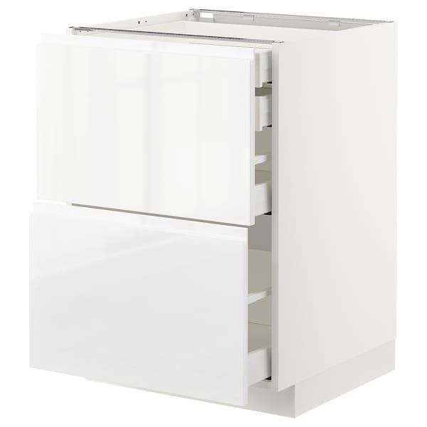 METOD / MAXIMERA Bänksk 2 frnt/2 låg/1 md/1 hög låda, vit/Voxtorp högglans/vit, 60x60 cm