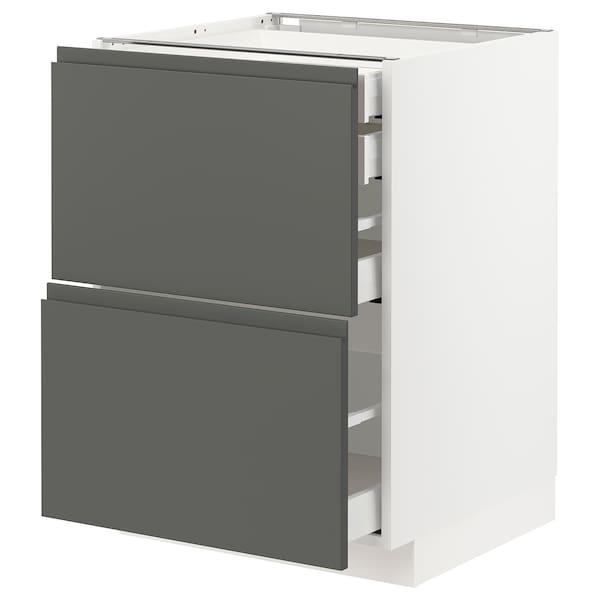 METOD / MAXIMERA Bänksk 2 frnt/2 låg/1 md/1 hög låda, vit/Voxtorp mörkgrå, 60x60 cm