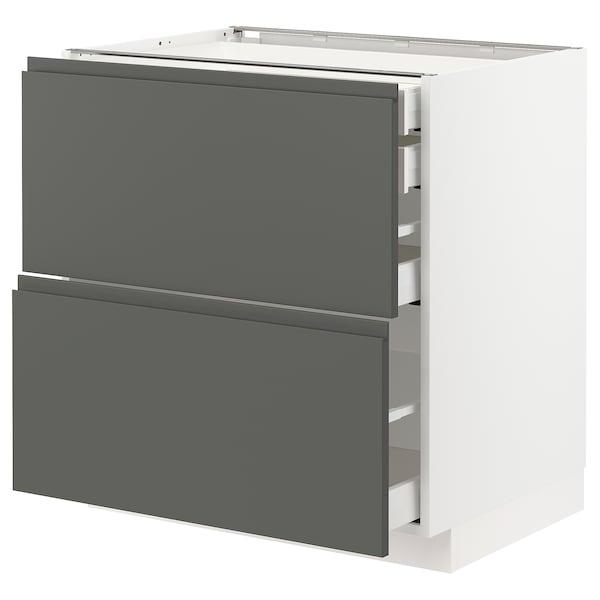 METOD / MAXIMERA Bänksk 2 frnt/2 låg/1 md/1 hög låda, vit/Voxtorp mörkgrå, 80x60 cm