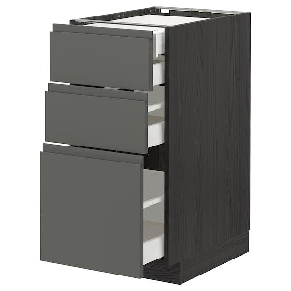 METOD / MAXIMERA Bänksk 3 frnt/2 låg/1 md/1 hög låda, svart/Voxtorp mörkgrå, 40x60 cm