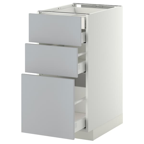METOD / MAXIMERA Bänksk 3 frnt/2 låg/1 md/1 hög låda, vit/Veddinge grå, 40x60 cm