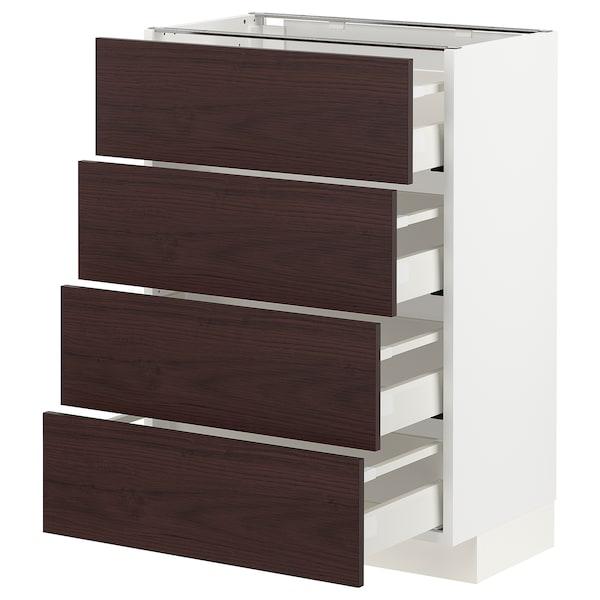 METOD / MAXIMERA Bänksk m 4 fronter/4 lådor, vit Askersund/mörkbrun askmönstrad, 60x37 cm