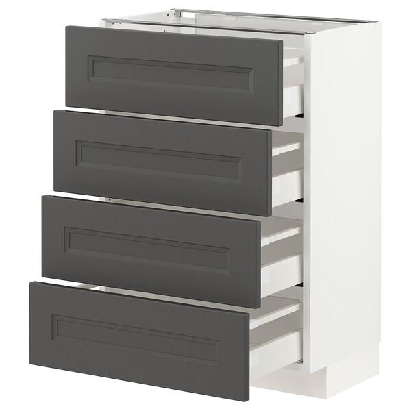 METOD / MAXIMERA Bänksk m 4 fronter/4 lådor, vit/Axstad mörkgrå, 60x37 cm