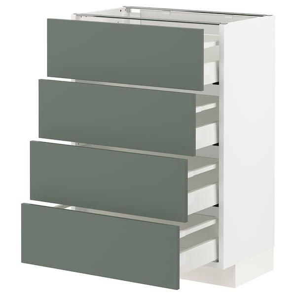 METOD / MAXIMERA Bänksk m 4 fronter/4 lådor, vit/Bodarp grågrön, 60x37 cm