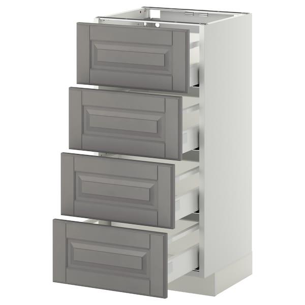 METOD / MAXIMERA Bänksk m 4 fronter/4 lådor, vit/Bodbyn grå, 40x37 cm