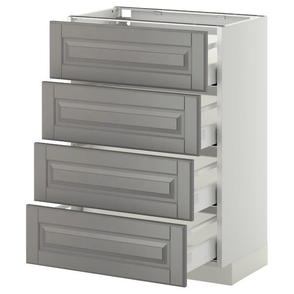 METOD / MAXIMERA Bänksk m 4 fronter/4 lådor, vit/Bodbyn grå, 60x37 cm