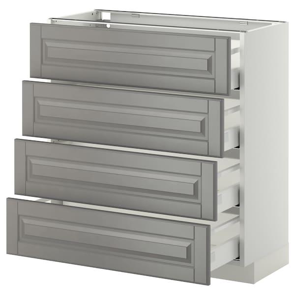 METOD / MAXIMERA Bänksk m 4 fronter/4 lådor, vit/Bodbyn grå, 80x37 cm