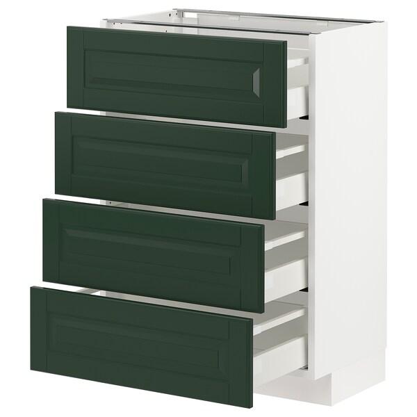 METOD / MAXIMERA Bänksk m 4 fronter/4 lådor, vit/Bodbyn mörkgrön, 60x37 cm