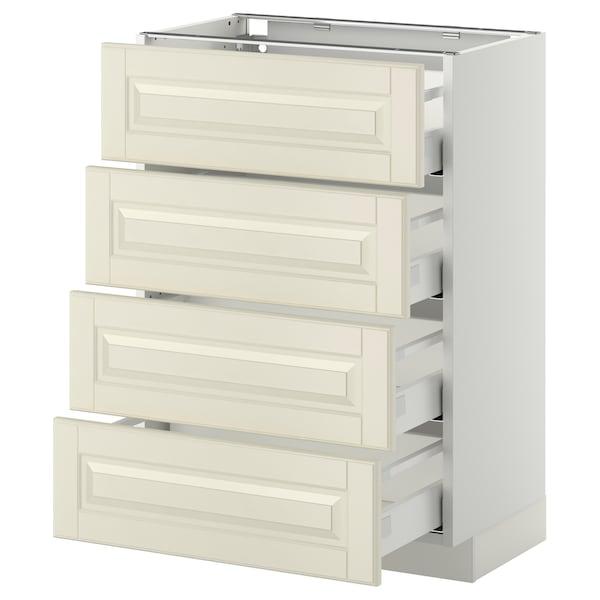 METOD / MAXIMERA Bänksk m 4 fronter/4 lådor, vit/Bodbyn off-white, 60x37 cm