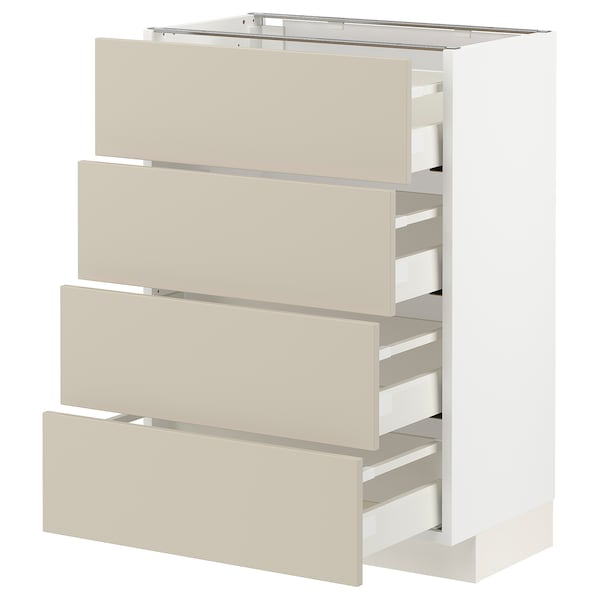 METOD / MAXIMERA Bänksk m 4 fronter/4 lådor, vit/Havstorp beige, 60x37 cm