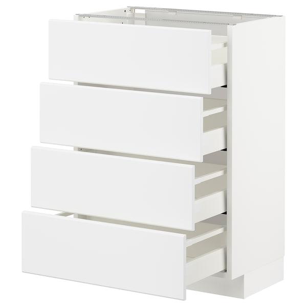 METOD / MAXIMERA Bänksk m 4 fronter/4 lådor, vit/Kungsbacka matt vit, 60x37 cm