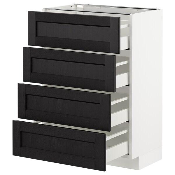 METOD / MAXIMERA Bänksk m 4 fronter/4 lådor, vit/Lerhyttan svartlaserad, 60x37 cm