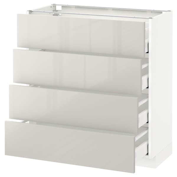 METOD / MAXIMERA Bänksk m 4 fronter/4 lådor, vit/Ringhult ljusgrå, 80x37 cm