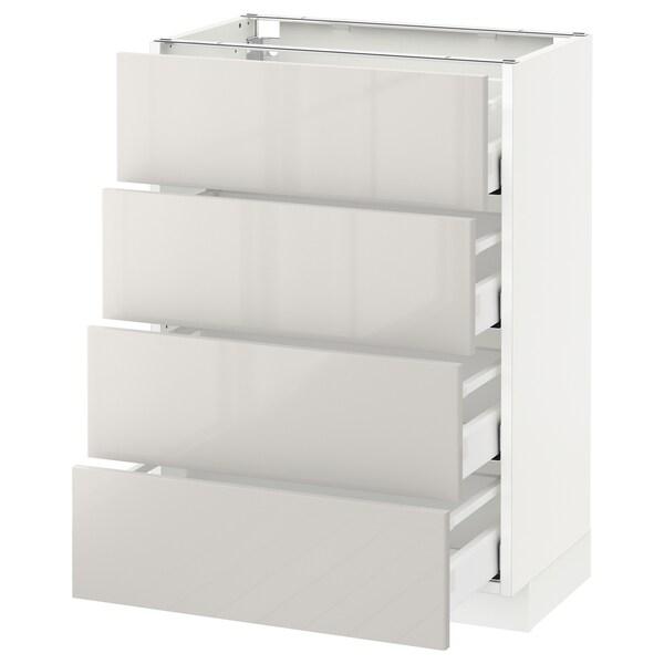 METOD / MAXIMERA Bänksk m 4 fronter/4 lådor, vit/Ringhult ljusgrå, 60x37 cm