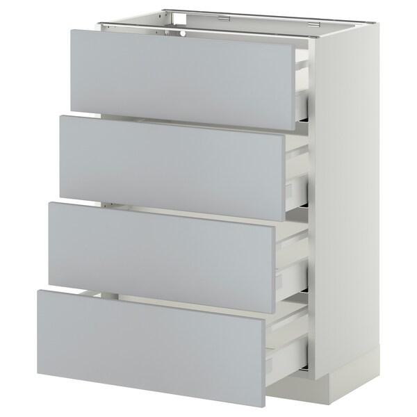 METOD / MAXIMERA Bänksk m 4 fronter/4 lådor, vit/Veddinge grå, 60x37 cm
