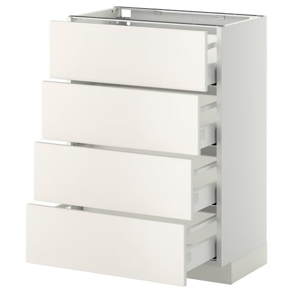 METOD / MAXIMERA Bänksk m 4 fronter/4 lådor, vit/Veddinge vit, 60x37 cm
