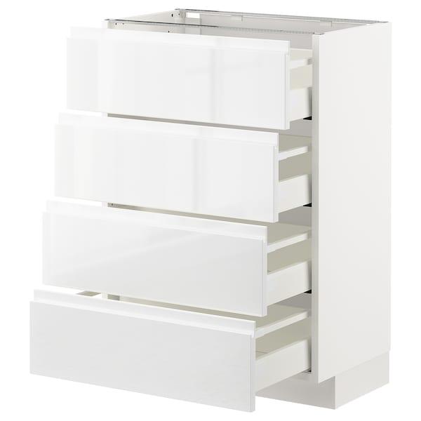 METOD / MAXIMERA Bänksk m 4 fronter/4 lådor, vit/Voxtorp högglans/vit, 60x37 cm