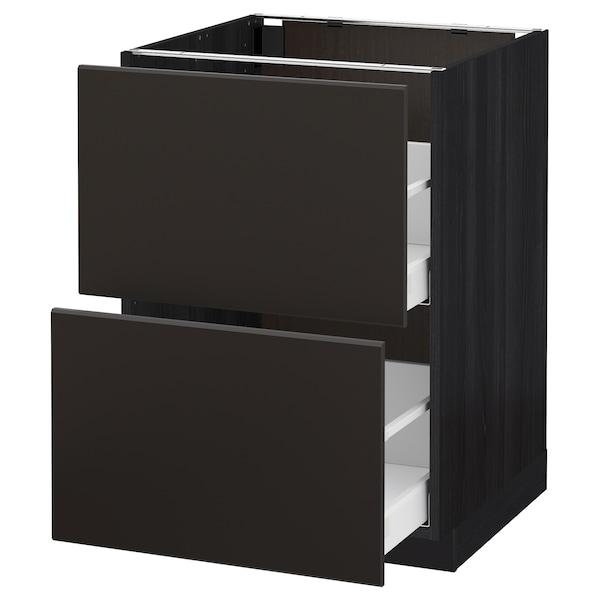 METOD / MAXIMERA Bänkskåp 2 fronter/2 höga lådor, svart/Kungsbacka antracit, 60x60 cm