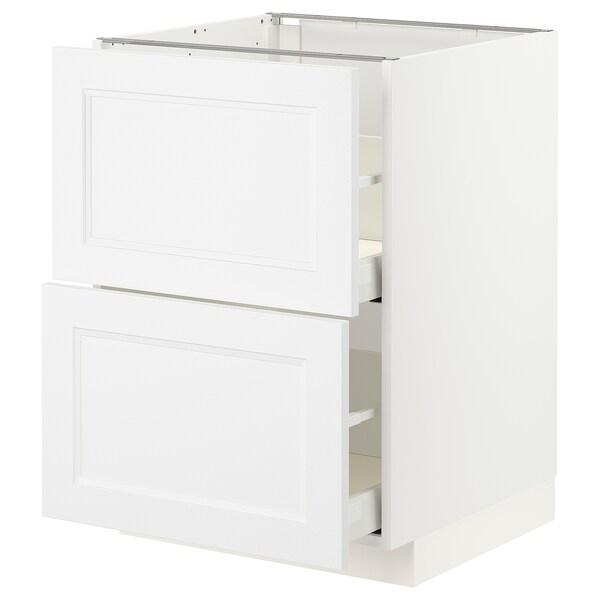 METOD / MAXIMERA Bänkskåp 2 fronter/2 höga lådor, vit/Axstad matt vit, 60x60 cm