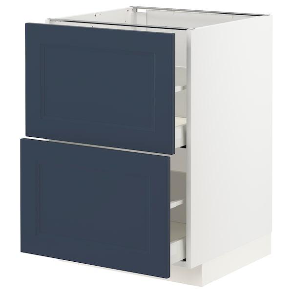 METOD / MAXIMERA Bänkskåp 2 fronter/2 höga lådor, vit Axstad/matt yta blå, 60x60 cm